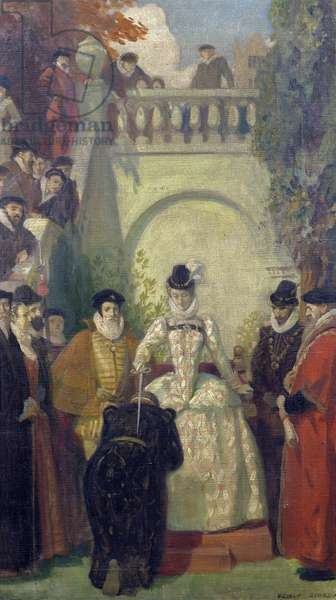 Queen Elizabeth I knighting Sir John Young on the steps of his property, The Great House, Bristol, 1910-20 (oil on canvas)