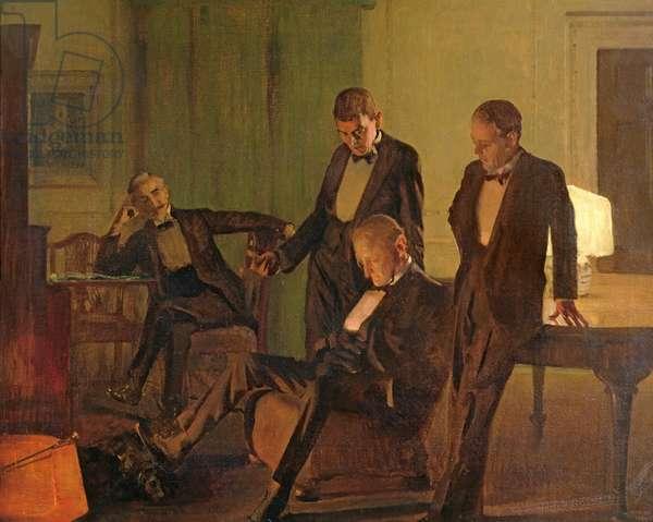 After Dinner at 110 Pembroke Road, 1927 (oil on canvas)