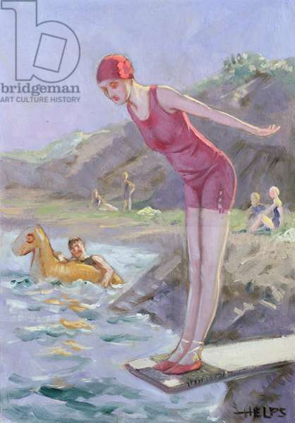 The Dip, 1928 (w/c on board)