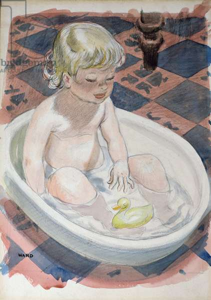 Baby in bath with duck (w/c on board)
