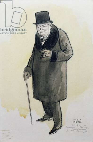 Evening (Portrait of Churchill) 1962 (charcoal on paper)