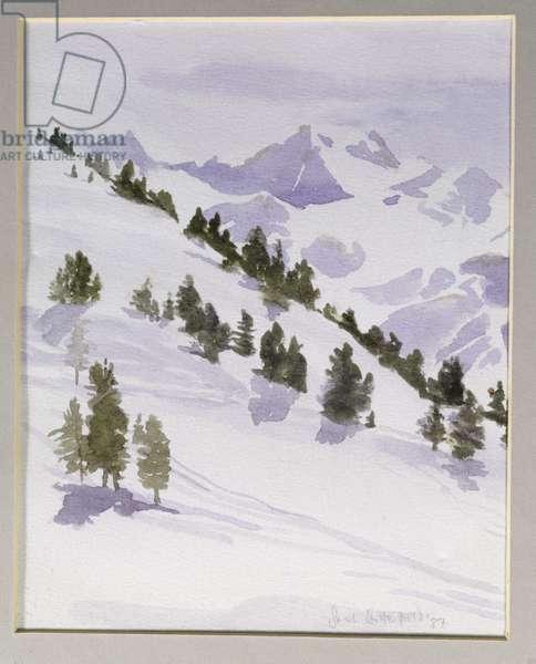 Winter Trees, Haute Nandez, Switzerland, 1989 (w/c)