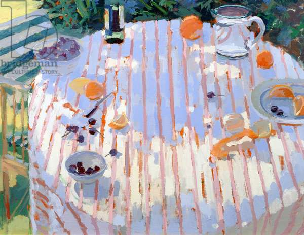 In the Garden, Table with Oranges (oil on canvas)