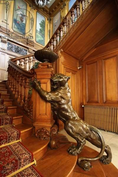 Grand staircase of Villa Lumiere, This villa is acquired unfinished in 1896 by Antoine Lumière, painter and photographer from Lyon, creator of the instantaneous photographic plates that made his fortune, 2019 (photo)
