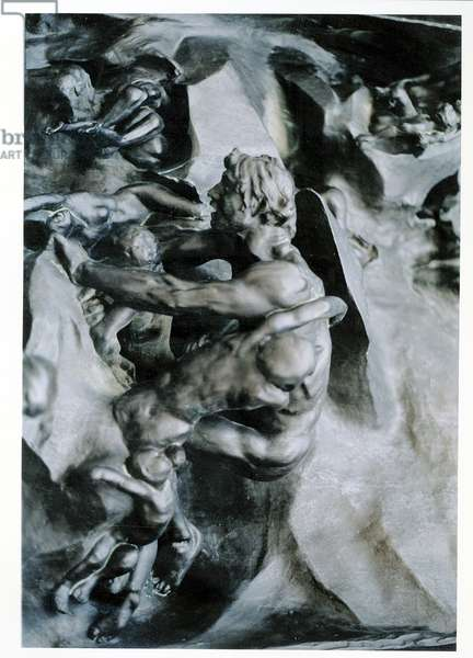 The Gates of Hell, detail of Ugolino and his Sons, left-hand central panel, c.1887 (bronze)