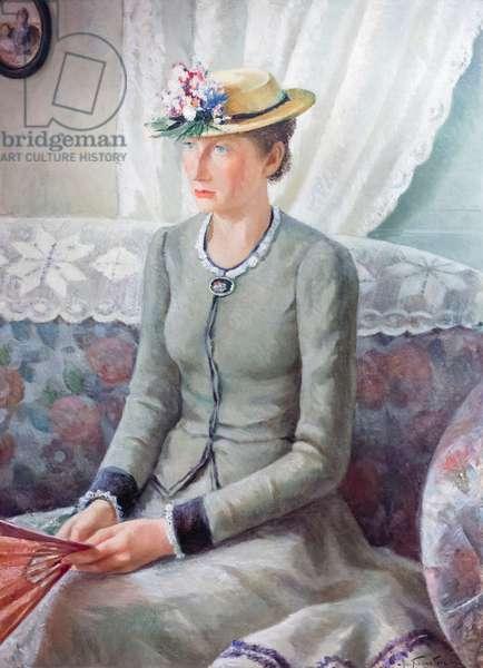 Half length portrait, my mother, portrait of a woman, 1939, (oil on panel)