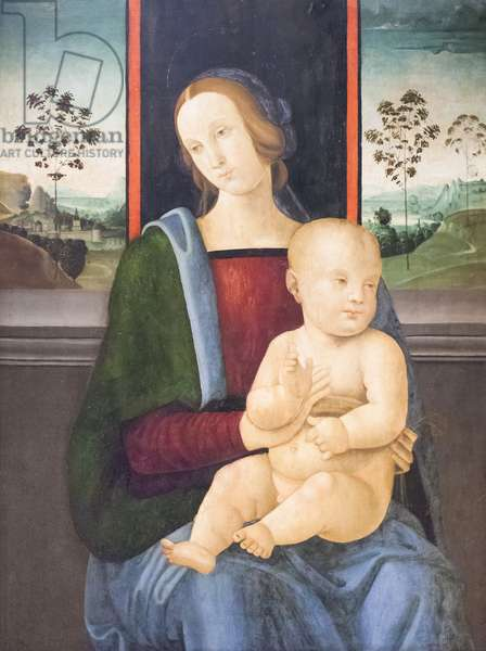 Madonna with Child (oil on wood)