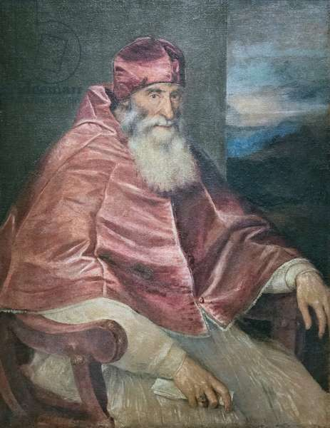Portrait of pope Paul III, 1545-46, Tiziano Vecellio (oil on canvas)
