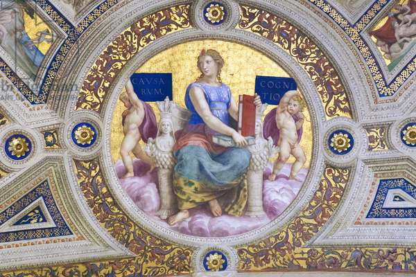 Philosophy, 1508, Raphael, 1483-1520, ceiling of the room of the signature, Raphael rooms, fresco, Vatican museums, Rome, Italy