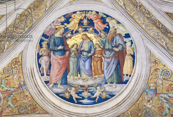 Christ tempted by the devil, 1508, Pietro Vannucci, called the Perugino, fresco, ceiling of the  room of the fire in the borgo ,Raphael's rooms, vatican museums, Rome, Italy