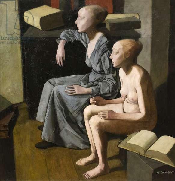 The two sisters (Le due sorelle, o libro aperto e libro chiuso) 1921, Felice Casorati (tempera on board)