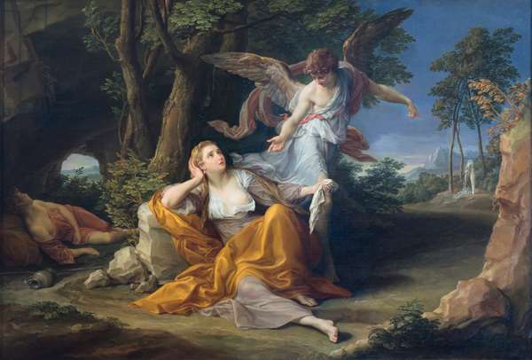The appearance of the Angel to Hagar in the desert, 1776 (oil on canvas)