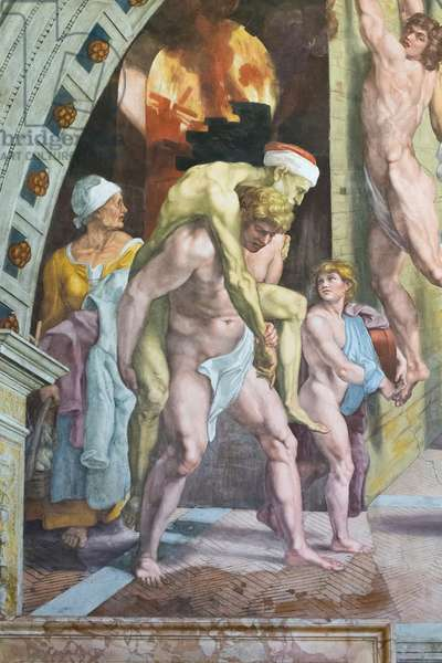 The fire in the borgo, detail that probably depicts Aeneas escaping with his father Anchises and his son Ascanius, 1516-1517 (fresco)