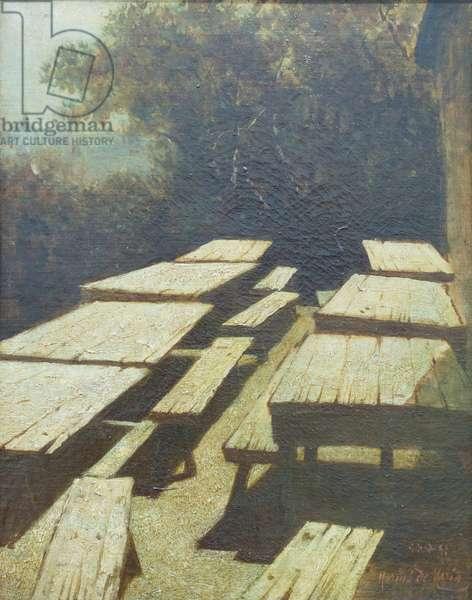 Luna sulle tavole di un'osteria, 1884, Mario de Maria (painting)