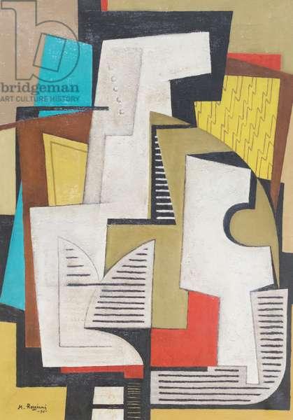 Composition, composizione, 1934, Mauro Reggiani (oil on canvas)