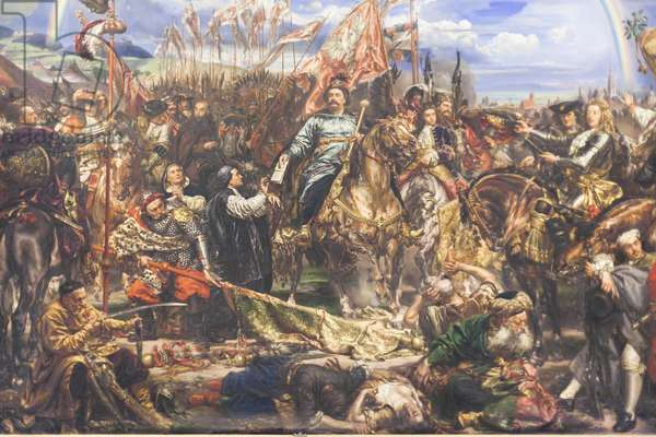 Sobieski sending message of victory to the Pope after the Battle of Vienna, 1883 (oil on canvas)