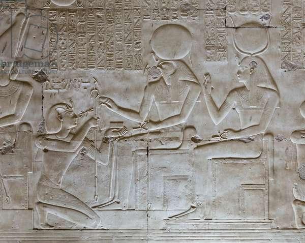 Basrelief, temple of Seti I, Abydos, Egypt