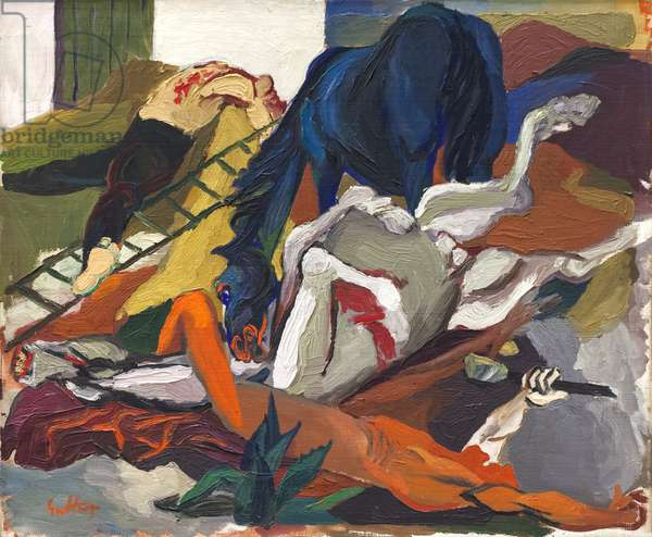 Battle with Wounded Knights, 1943 (oil on canvas)