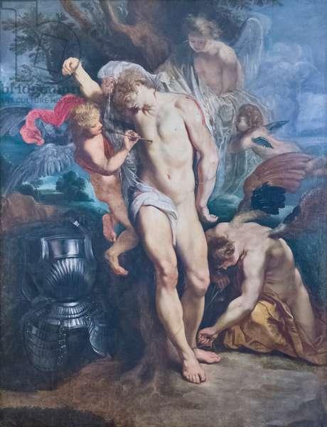 Saint Sebastian healed by angels, 17th century (oil on canvas)