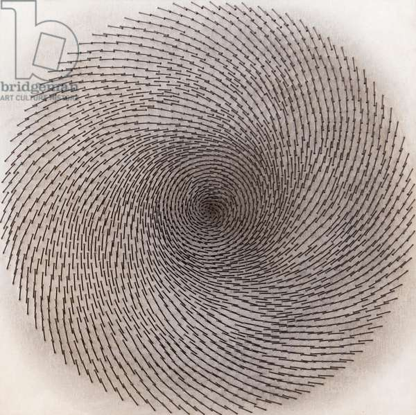 Spirale scura, 1970, Guenther Uecker (iron nail and sand on wood)