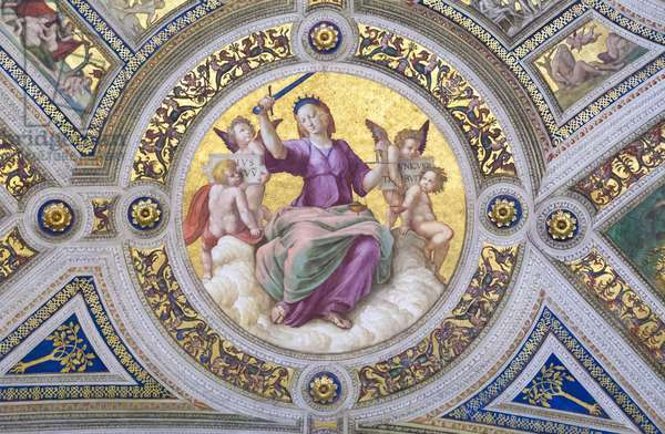 Justice, 1508, Raphael, 1483-1520, ceiling of the room of the signature, Raphael rooms, fresco, Vatican museums, Rome, Italy