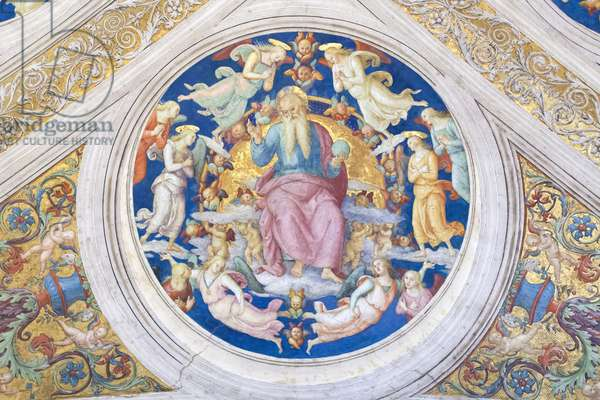 Creator enthroned among angels and cherubs, 1508, Pietro Vannucci, called the Perugino, fresco, ceiling of the  room of the fire in the borgo ,Raphael's rooms, vatican museums, Rome, Italy