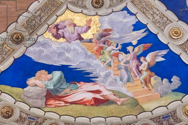 Jacob's dream, ceiling of the stanza di Eliodoro, room of Heliodorus (fresco)