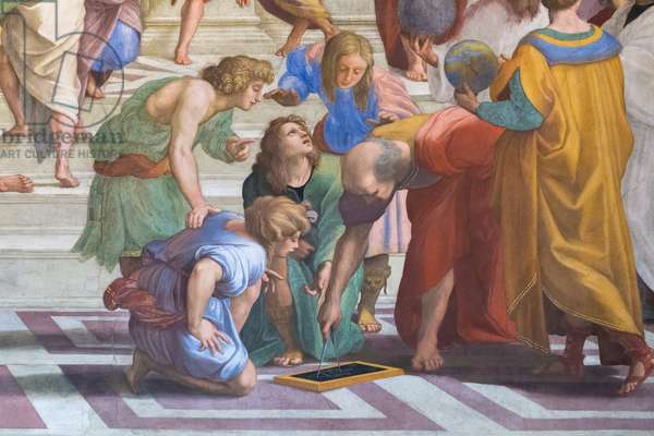 Euclid or Archimedes: detail from the School of Athens in the Stanza della Segnatura, 1510-11 (fresco)