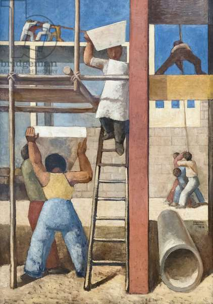 The builders, I costruttori, 1928, Massimo Campigli (oil on canvas)