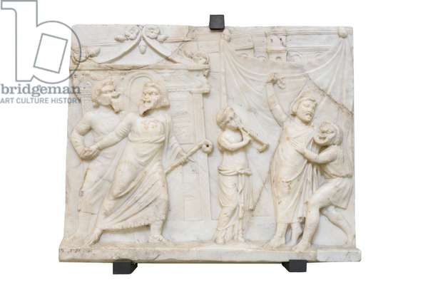 Bas relief with scene of comedy, roman art (marble)