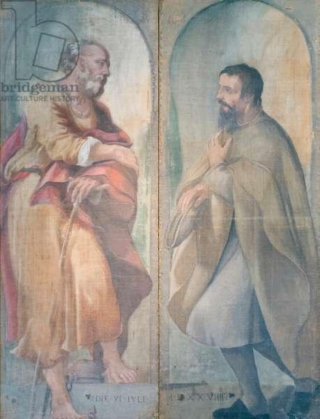 Saint Joseph and a devotee, 1529, Correggio (oil on canvas) in two parts