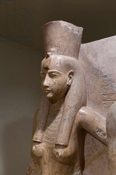 Amun and Mut, detail, 1290-1224 BC, Luxor statue cache (stone)