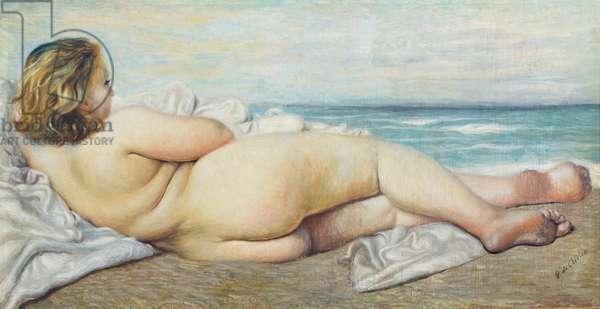 Bagnante coricata, 1932, Giorgio de Chirico (oil on canvas)