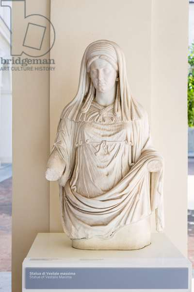 Statue of Vestalis Maxima, marble, National Roman Museum at the Baths of Diocletian, Rome, Italy