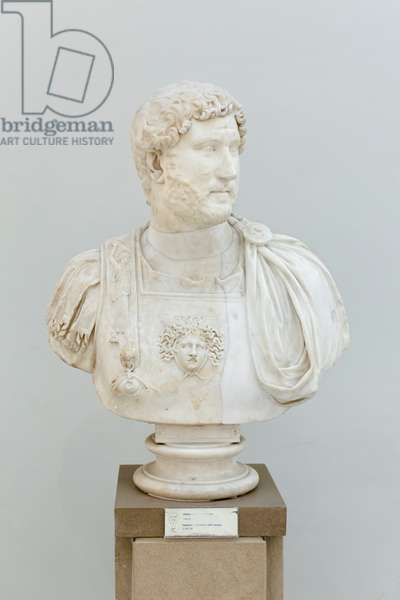 Hadrian set in a bust with cuirass, c. 130 AD (marble)