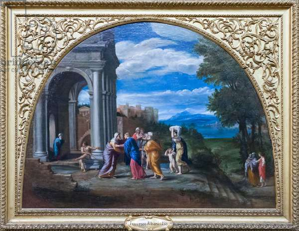 Landscape with the visitation, (oil on canvas)