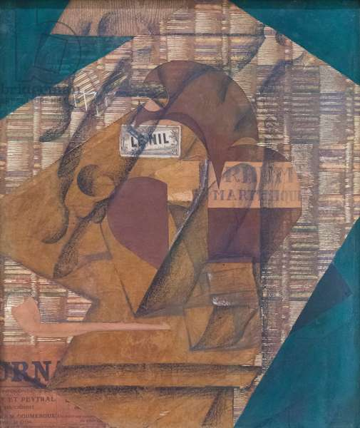 Bottle of rum and newspaper, 1914, (paper collage gouache, pencil on newspaper)
