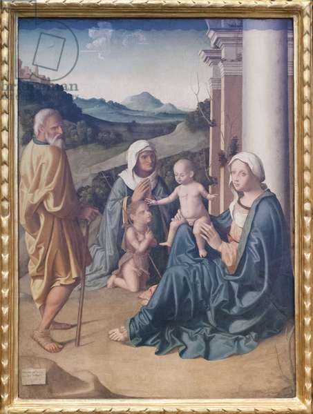 Holy family with St Elizabeth and the Young John the Batist, 1515 (oil on wood)