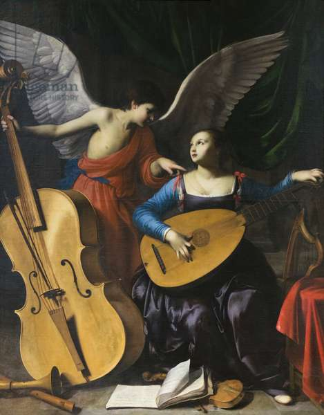 Saint Cecilia and the angel, 17th century (oil on canvas)