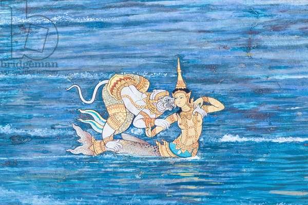 Mural depicting scenes from the Ramayana at Wat Phra Kaeo, the Royal Grand Palace, Bangkok, Thailand