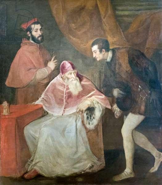 Portrait of pope Paul III with nephews, 1545-46, Tiziano Vecellio (oil on canvas)