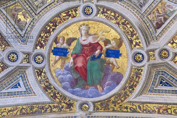 Theology, 1508, Raphael, 1483-1520, ceiling of the room of the signature, Raphael rooms, fresco, Vatican museums, Rome, Italy