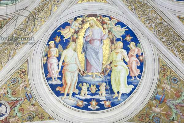 Christ between mercy and justice, 1508, Pietro Vannucci, called the Perugino, fresco, ceiling of the  room of the fire in the borgo ,Raphael's rooms, vatican museums, Rome, Italy