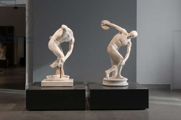 Two discobolus Lancellotti, after the bronze discobolus by the greek sculptor Myron of Eleutherae, 2nd century AD (marble)