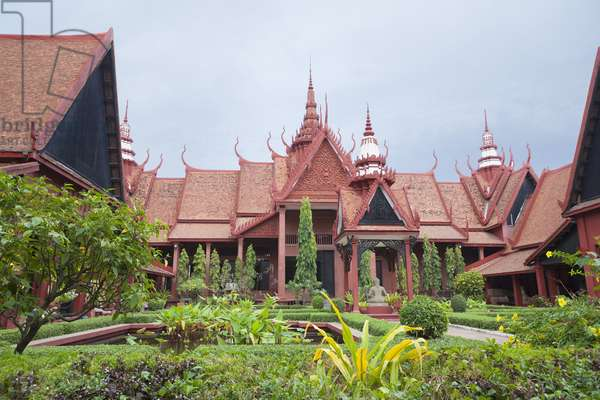 The inner courtyard of the national museum in Phnom Penh, Cambodia