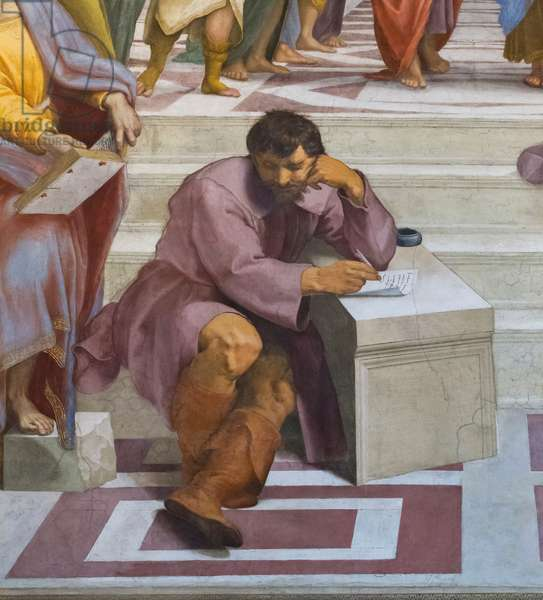 Heraclitus portrayed as Michelangelo, detail from the School of Athens in the Stanza della Segnatura, 1510-11 (fresco)