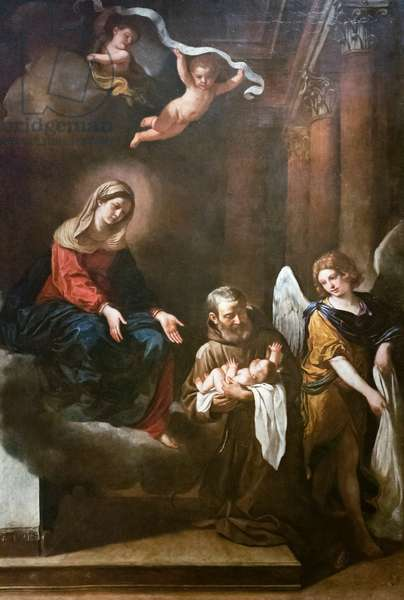The Madonna with fra Felice da Cantalice, the infant Jesus and an angel, Guercino, 17th century (oil on canvas)