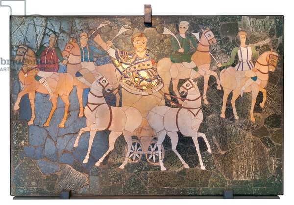 Wall panel depicting a consul riding a two horse chariot with four knights, first half of the 4th century AD (mosaic)
