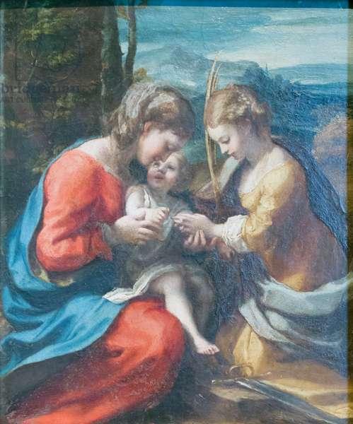 Mystical marriage of Saint Catherine, 1517-18, Correggio (oil on canvas)
