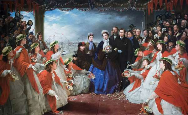 The landing of HRH the Princess Alexandra at Gravesend, 7 March 1863, 1864 (oil on canvas)